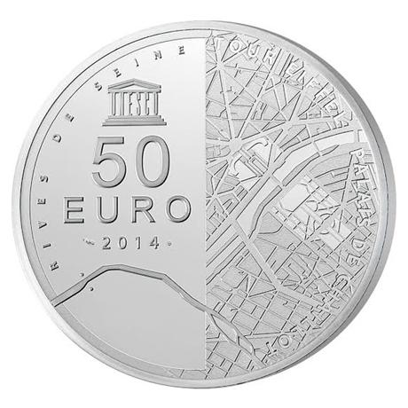 50 euro France 2014 argent BE - Tour Eiffel Revers