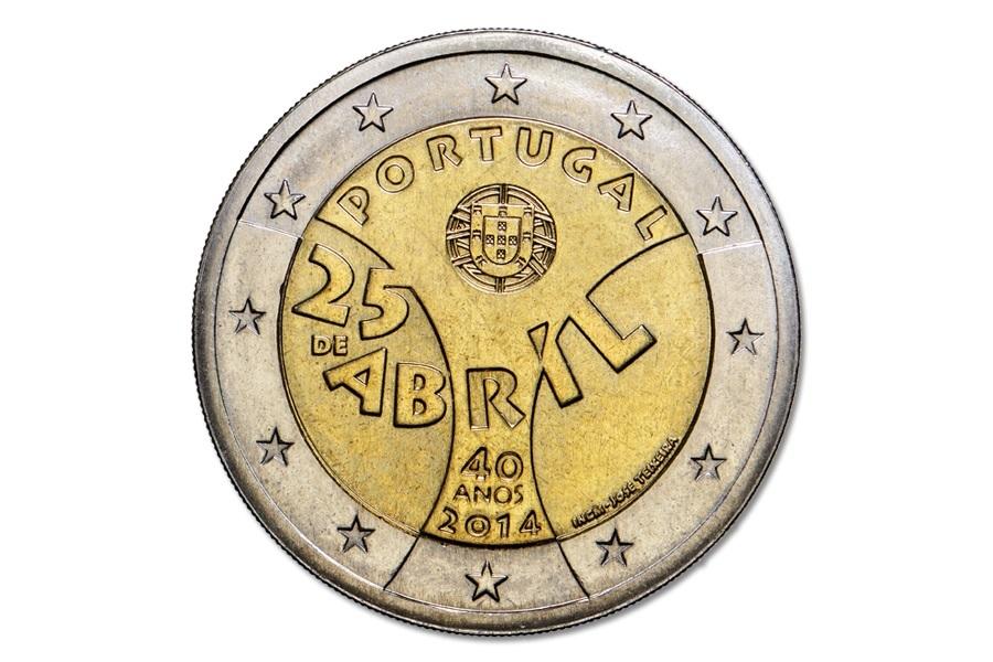 (EUR15.200.2014.12500323) 2 euro Portugal 2014 - Carnation Revolution Obverse (zoom)