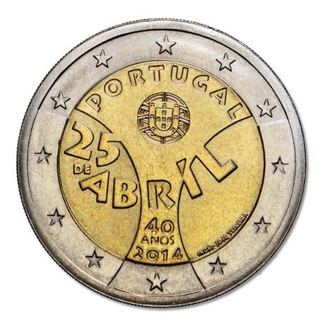 (EUR15.200.2014.12500323) 2 euro commémorative Portugal 2014 - Révolution des Oeillets Avers