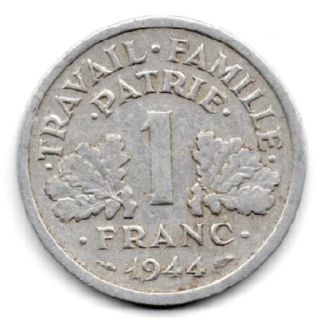 (FMO.1.1944_C.24.6.000000005) 1 Franc Francisque, légère 1944 C Revers