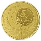 5 euro France 2014 or BE - Coupe du monde de football Revers