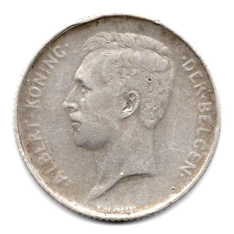 (W023.100.1913.1.1.000000001) 1 Franc Albert Ier 1913 - Légende flamande Avers