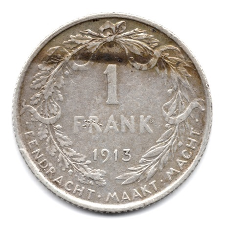 (W023.100.1913.1.1.000000001) 1 Franc Albert Ier 1913 - Légende flamande Revers