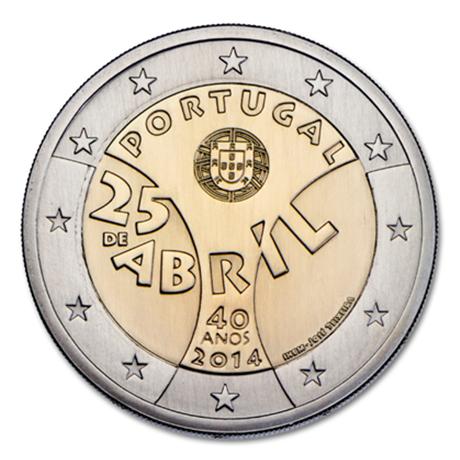 2 euro commémorative Portugal 2014 BU - Révolution des Oeillets Avers