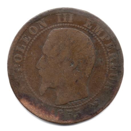 (FMO.005.1855_W.4.29.1.000000001) Napoléon III, Tête nue 1855 W (différent non identifiable) Avers