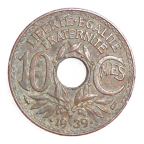 (FMO.010.•1939•.8.2.000000001) 10 centimes Lindauer, maillechort •1939• Revers