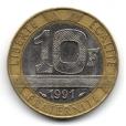 (FMO.10.1991.16.5.000000001) 10 Francs Génie de la Bastille 1991 Revers