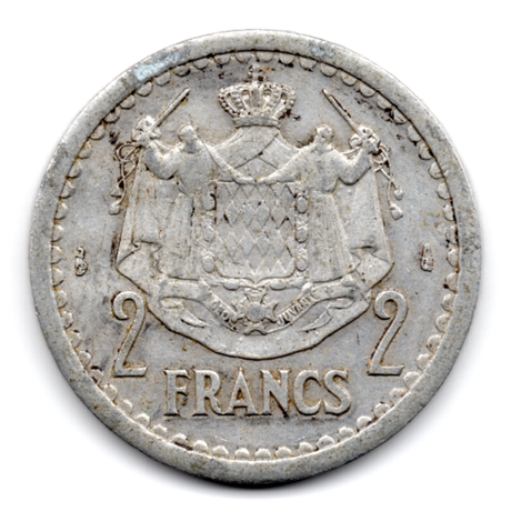 (W150.200.1943.1.1.000000001) 2 Francs Louis II 1943 Revers