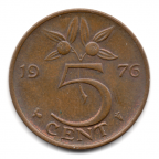 (W172.005.1976.1.1.000000001) 5 Cent Juliana 1976 Revers