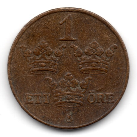 (W208.001.1937.1.1.000000001) 1 Öre Monogramme de Gustave V 1937 Revers