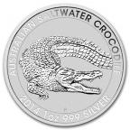 1 dollar Australie 2014 1 once argent - Crocodile marin Revers