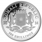 100 Shillings Somalie 2014 1 once argent - Eléphant Avers