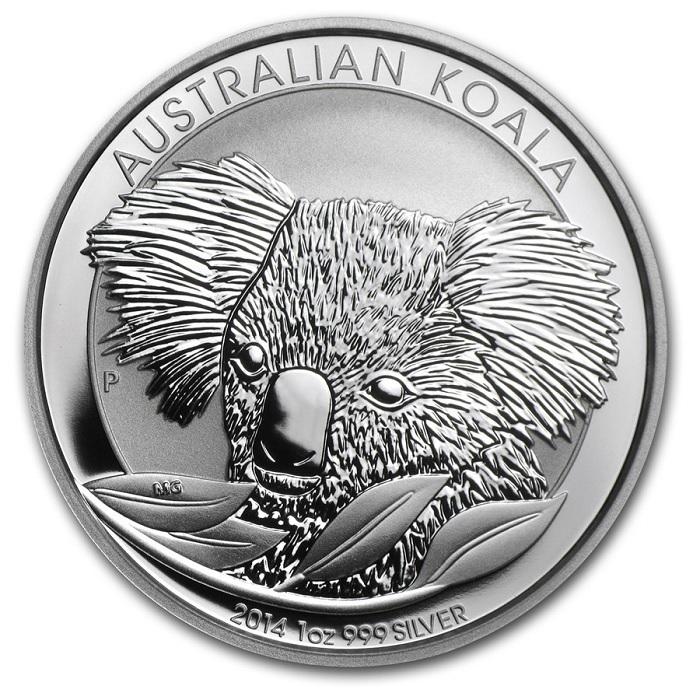 (W017.100.2014.1.oz.Ag.1) 1 Dollar Australia 2014 1 oz BU Ag - Australian Koala Reverse (zoom)