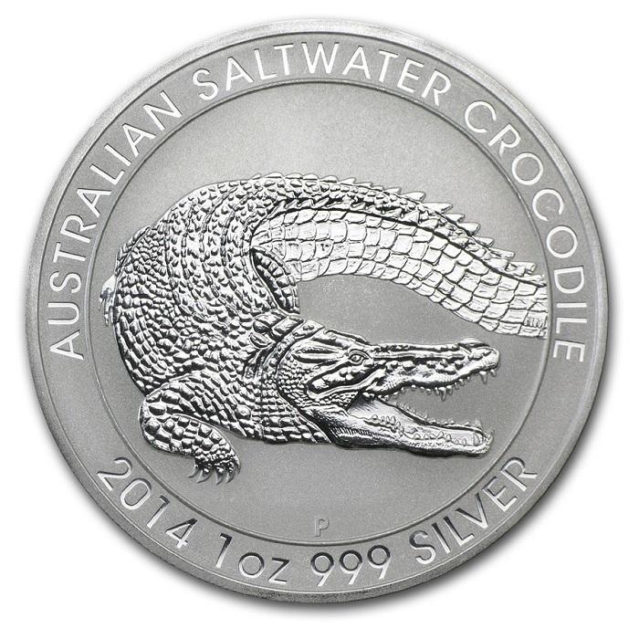 (W017.100.2014.1.oz.Ag.3) 1 Dollar Australia 2014 1 oz BU silver - Saltwater crocodile Reverse (zoom)