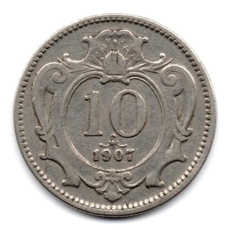 (W018.0010.1907.1.1.000000001) 10 Heller Aigle héraldique bicéphale 1907 Revers
