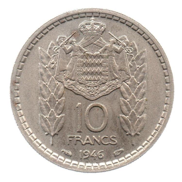 (W150.1000.1946.1.2.000000001) 10 Francs Prince Louis II 1946 Reverse (zoom)
