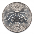 (W150.500.1982.1.2.000000001) 5 Francs Rainier III 1982 Revers