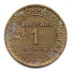 (FMO.1.1922.19.3.000000001) 1 Franc Chambres de commerce 1922 Revers
