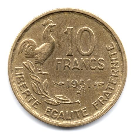 (FMO.10.1951_B.4.4.000000001) 10 Francs Guiraud 1951 B Revers