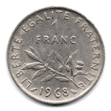 (FMO.1.1968.27.10.000000001) 1 Franc Semeuse 1968 Revers