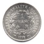 (FMO.1.1992.30.1.000000002) 1 Franc République 1992 Revers