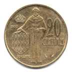(W150.020.1982.1.21.000000002) 20 centimes Rainier III 1982 Revers