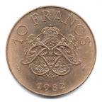 (W150.1000.1982.1.10.000000001) 10 Francs Rainier III 1982 Revers