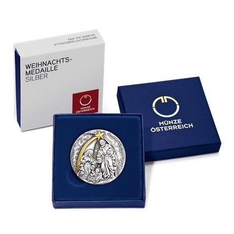 (MED01.Méd.Münze.Ö.2013.19241) Médaille argent patiné - Noël (écrin)