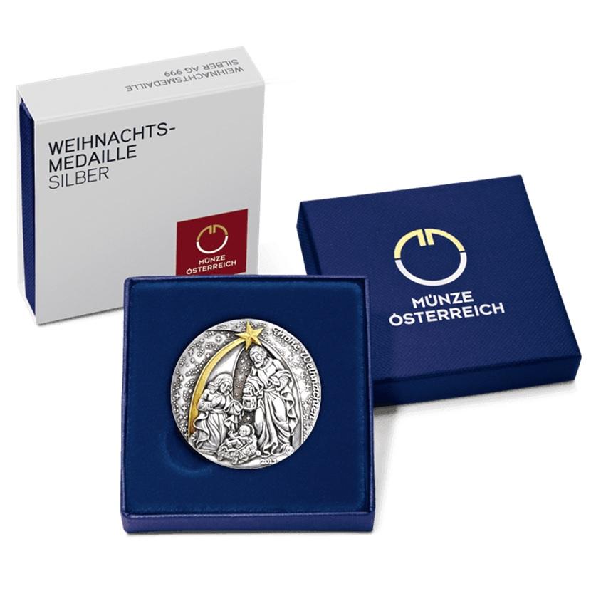 (MED01.Méd.Münze.Ö.2013.19241) Patinated silver medal - Christmas (case) (zoom)