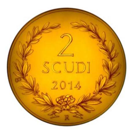2 Scudi Première émission monétaire saint-marinaise 2014 - Or BE Revers (visuel supplémentaire)