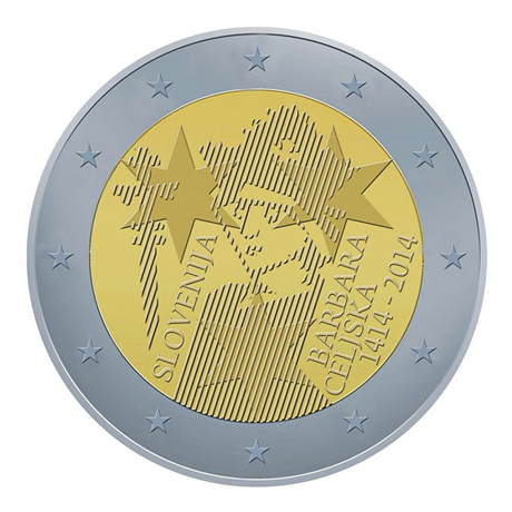 2 euro commémorative Slovénie 2014 - Barbe de Cilley