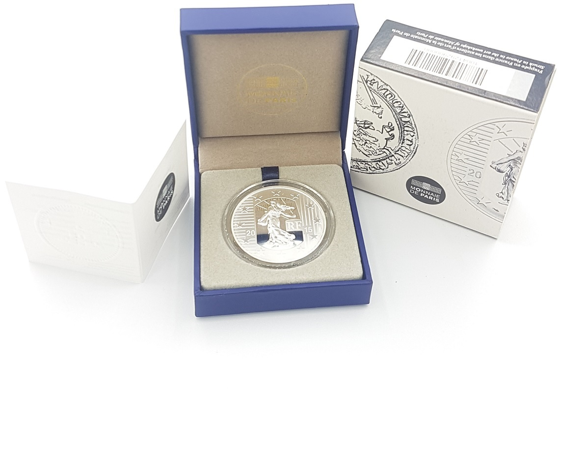 (EUR07.ComBU&BE.2015.1000.BE.10041292900000) 10 euro France 2015 Proof silver - Sower Obverse (case) (zoom)