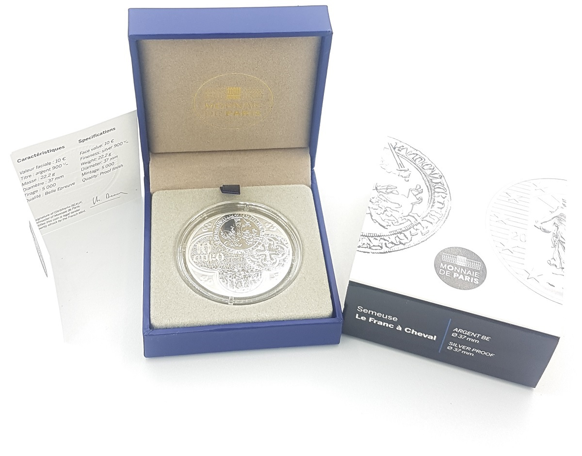 (EUR07.ComBU&BE.2015.1000.BE.10041292900000) 10 euro France 2015 Proof silver - Sower Reverse (case) (zoom)