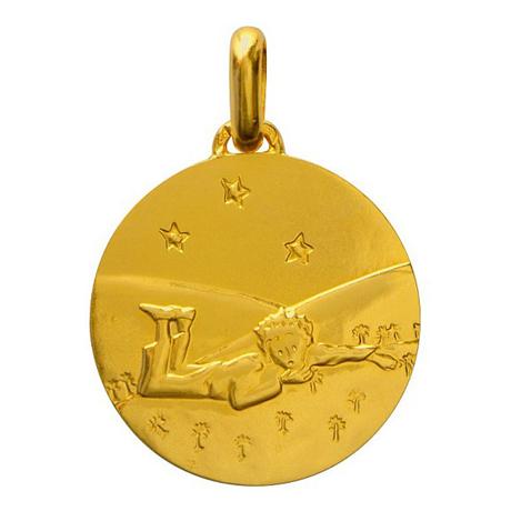 Médaille de cou or - Le Petit Prince couché dans l'herbe Avers