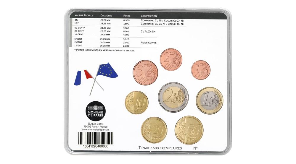 (EUR07.CofBU&FDC.2015.10041293480000) BU coin set France 2015 - Berlin World Money Fair Back (zoom)