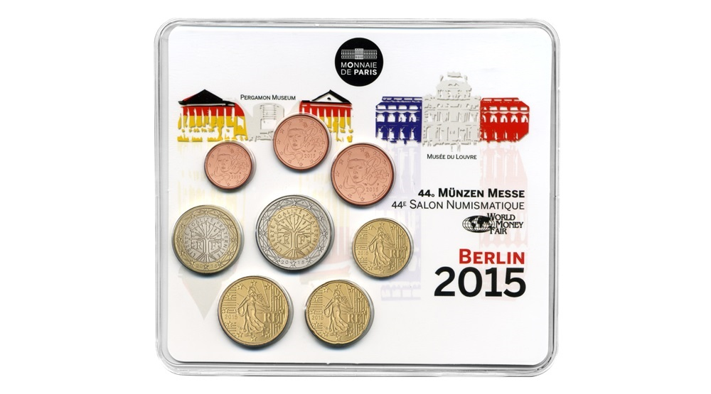 (EUR07.CofBU&FDC.2015.10041293480000) BU coin set France 2015 - Berlin World Money Fair Front (zoom)