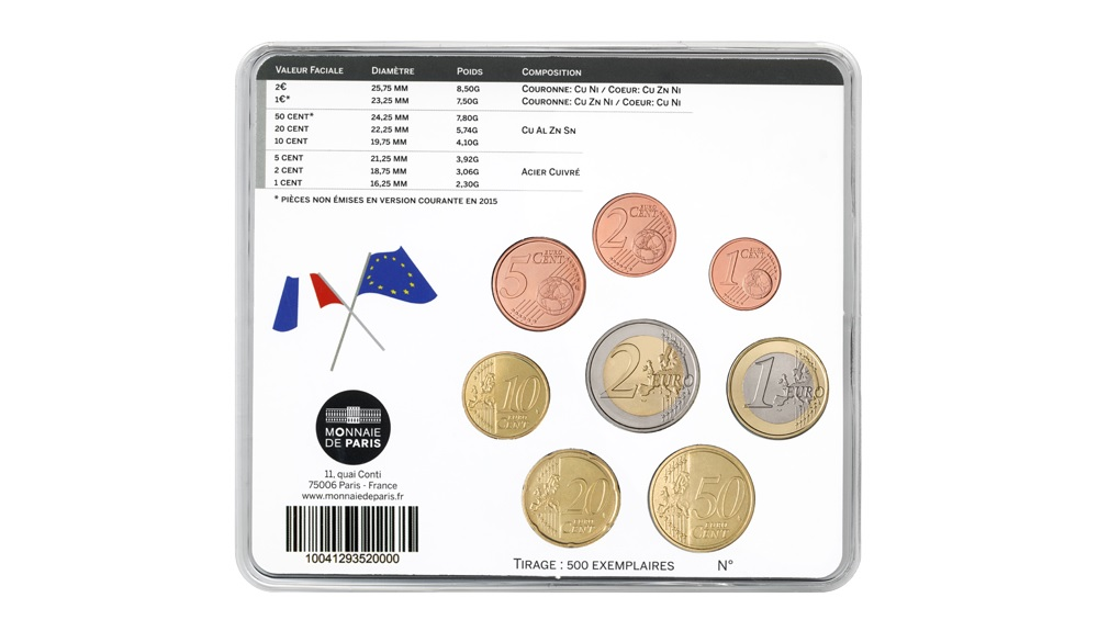 (EUR07.CofBU&FDC.2015.10041293520000) BU coin set France 2015 - Peace in Europe Back (zoom)