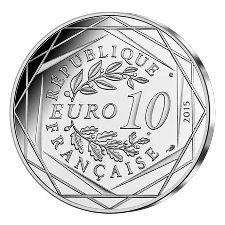 10 euro France 2015 argent - Fraternité (Astérix aux Jeux olympiques) Revers