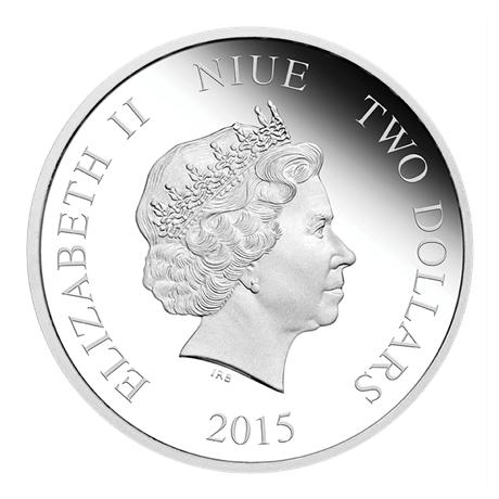 2 dollars Niue 2015 1 once argent BE - La Petite Sirène Avers