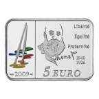 5 euro France 2009 argent BU - Claude Monet Revers