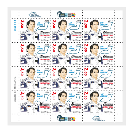 Feuillet 12 x 2,50 euro Saint-Marin 2014 - Ayrton Senna