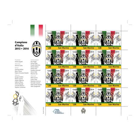 (PHILEUR18.feuillets.2014.2) Feuillet 12 x 1 euro Saint-Marin 2014 - Juventus