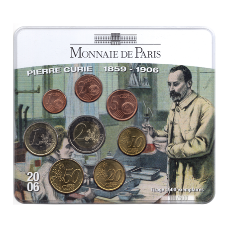 (EUR07.CofBU&FDC.2006.M-S15.316) Mini-set BU France 2006 - Pierre Curie Recto