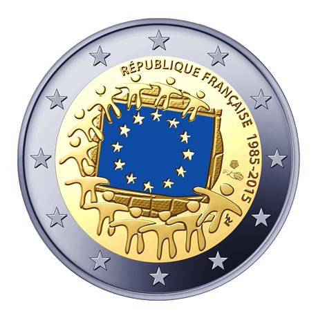 2 euro commémorative France 2015 BE - Drapeau européen Avers
