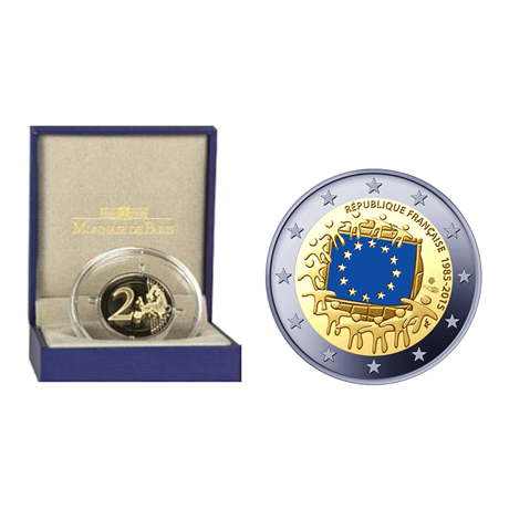 2 euro comm morative france 2015 be drapeau europ en. Black Bedroom Furniture Sets. Home Design Ideas