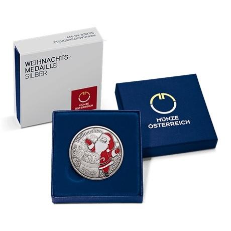(MED01.Méd.MünzeÖ.2014.20379) Médaille argent patiné - Noël (écrin)