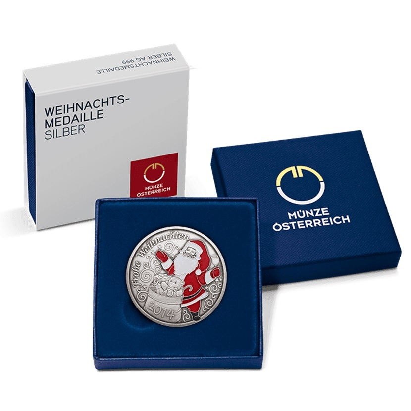 (MED01.Méd.MünzeÖ.2014.20379) Patinated silver medal - Christmas (case) (zoom)