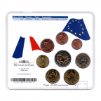 (EUR07.CofBU&FDC.2010.M-S5.324) Mini-set BU France 2010 - De Gaulle (blue coin set) Back
