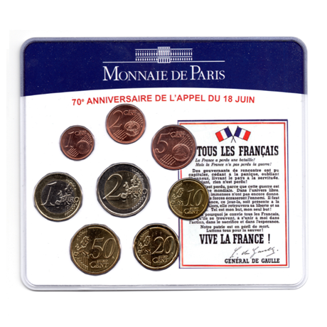 (EUR07.CofBU&FDC.2010.M-S5.324) Mini-set BU France 2010 - De Gaulle (blue coin set) Front