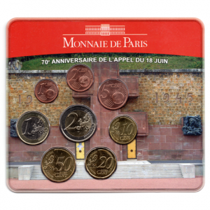 (EUR07.CofBU&FDC.2010.M-S7.158) Mini-set BU France 2010 - De Gaulle (coffret rouge) Recto (zoom)